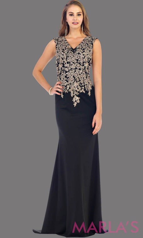 Long black party dress with gold lace. This is a beautiful plus size dress that is perfect as a modest dress, black prom dress, wedding guest dress, or a conservative party dress