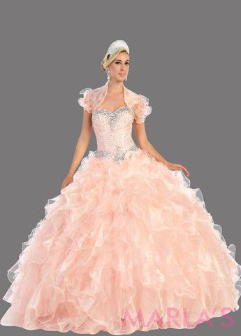 Long blush princess ball gown with ruffled skirt and shrug. Perfect for Engagement dress, Quinceanera, Sweet 16, Swet 15 and light pink Wedding Reception Dress. Available in plus sizes