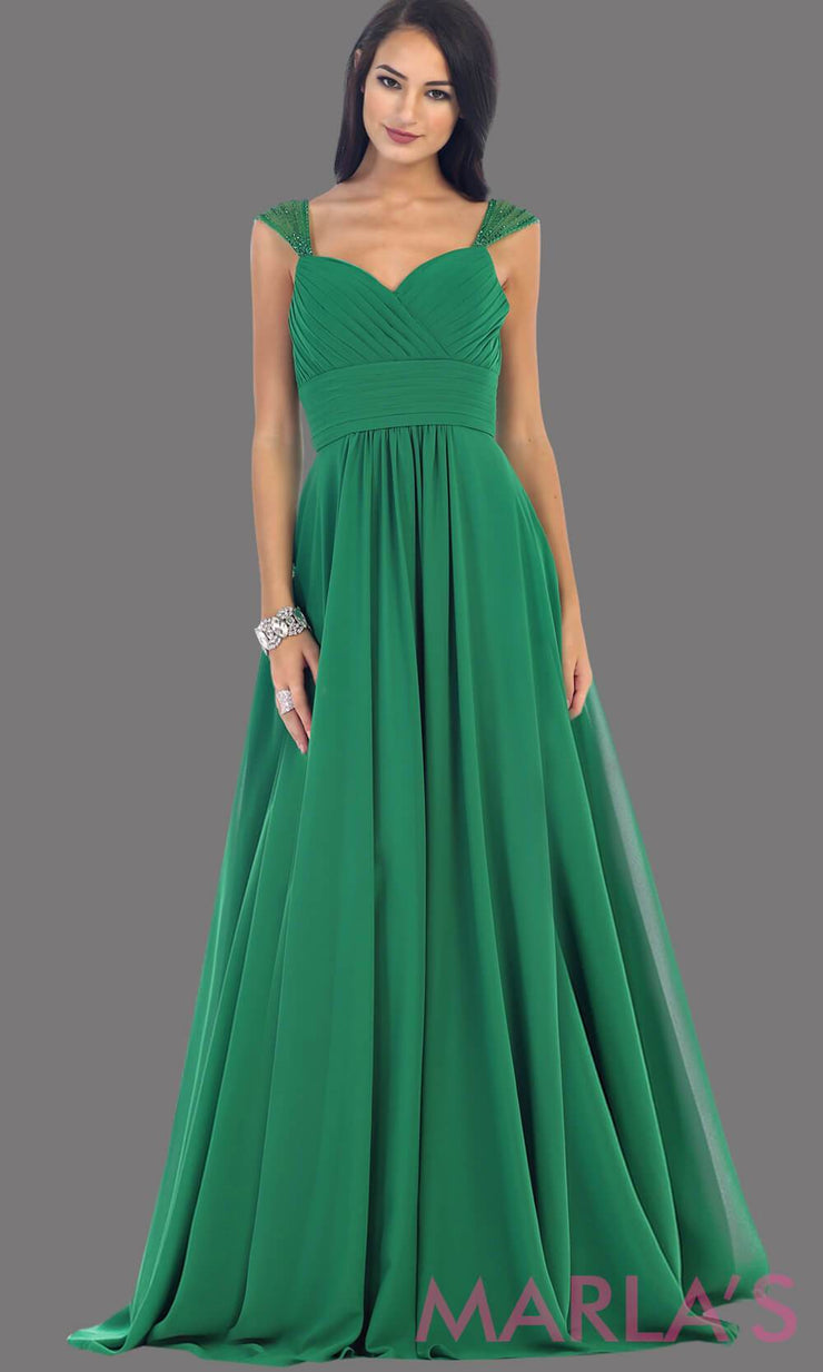 Long Chiffon Dress with Sequin Wide Straps - Marla's Fashions - 3