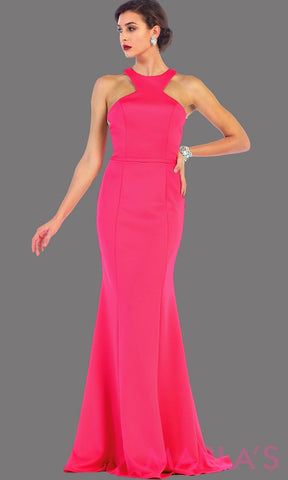 Long high neck fitted fuchsia dress with a tone on tone belt. This is a sleek and sexy hot pink prom dress, fitted formal gown, long wedding guest dress. It is available in plus sizes