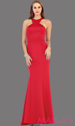 Long high neck fitted red dress with a tone on tone belt. This is a sleek and sexy red prom dress, fitted formal gown, long wedding guest dress. It is available in plus sizes