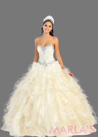 Long champagne princess ball gown with ruffled skirt and shrug. Perfect for Engagement dress, Quinceanera, Sweet 16, Swet 15 and light ivory Wedding Reception Dress. Available in plus sizes