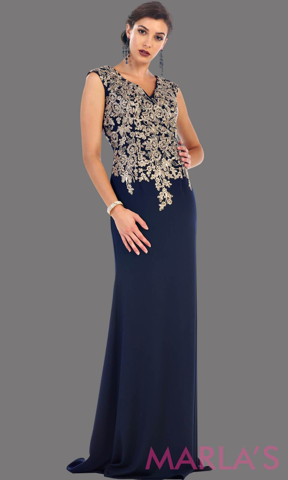 Long navy party dress with gold lace. This is a beautiful plus size dress that is perfect as a modest dress, dark blue prom dress, wedding guest dress, or a conservative party dress