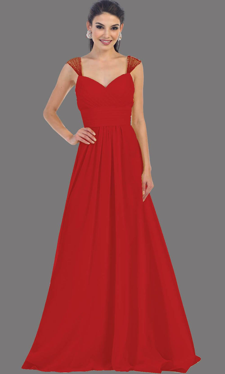 Long burgundy flowy dress with sequin straps. This dark red dress has an empire waistline that is great for bridesmaids, wedding guest dress.
