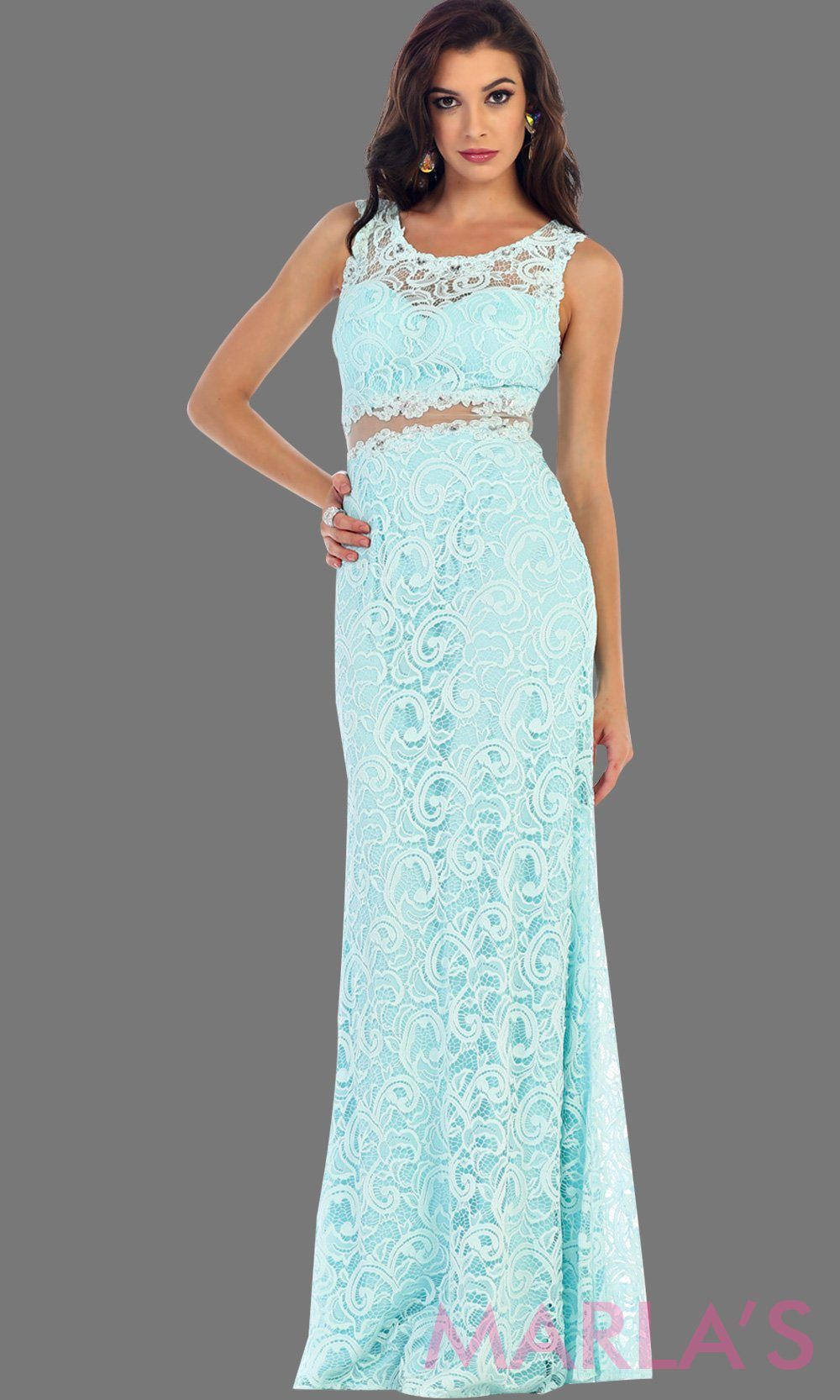 Long simple lace aqua two piece dress. This light blue dress is a perfect long prom dress. The red illusion neckline and waist creates a two piece prom look. Can be worn as a wedding guest dress, worn at a formal event or gala. Available in plus sizes