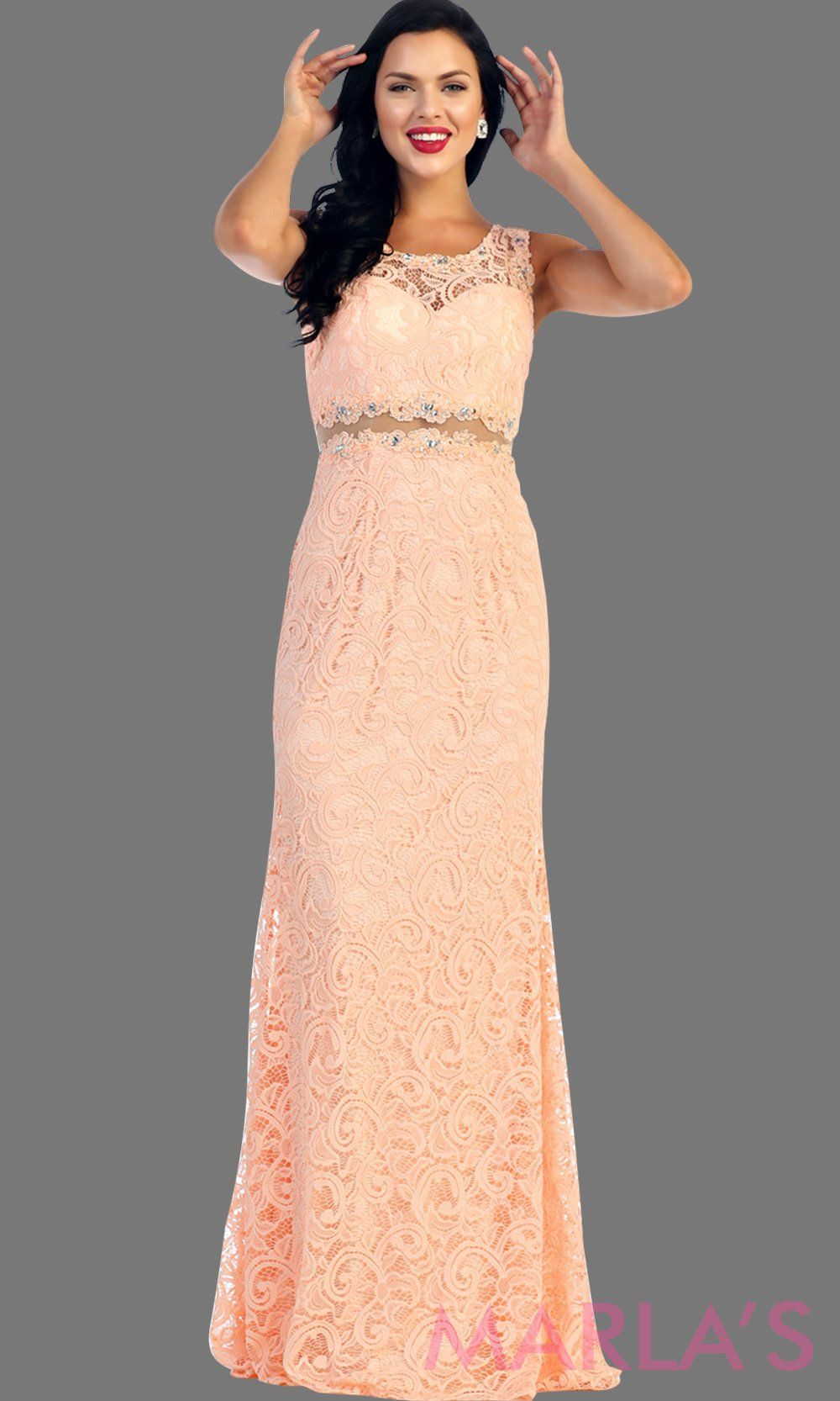 Long simple lace light pink two piece dress. This blush dress is a perfect long prom dress. The red illusion neckline and waist creates a two piece prom look. Can be worn as a wedding guest dress, worn at a formal event or gala. AVailable in plus sizes