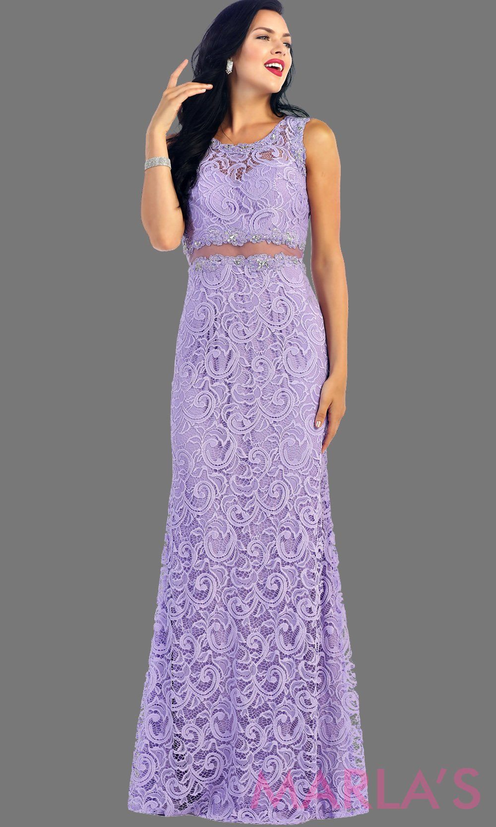 Long simple lace lilac two piece dress. This light purple dress is a perfect long prom dress. The lavendar illusion neckline and waist creates a two piece prom look. Can be worn as a wedding guest dress, worn at a formal event or gala. AVailable in plus sizes