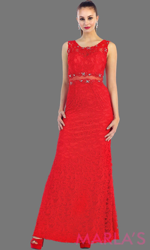 Long simple lace red two piece dress. This red dress is a perfect long prom dress. The red illusion neckline and waist creates a two piece prom look. Can be worn as a wedding guest dress, worn at a formal event or gala. Available in plus sizes