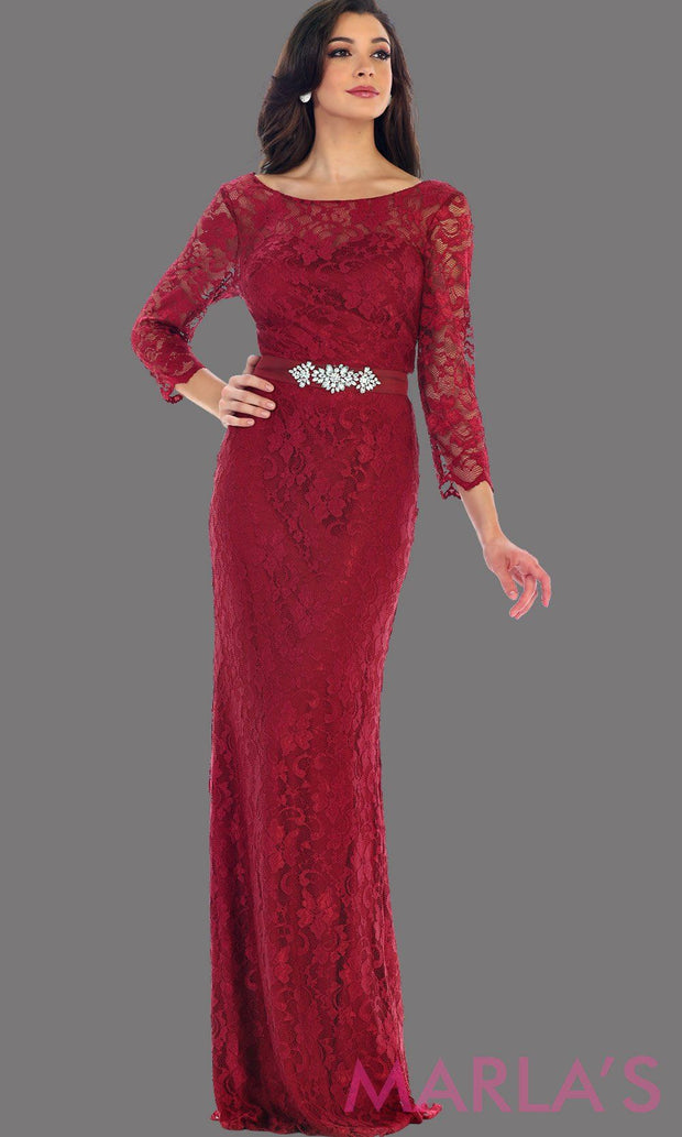 Long sleeve burgundy lace dress with detachable belt. This beautiful modest full length gown is a perfect bridesmaid dress, dark red prom dress, simple bridal dress. Available in plus sizes