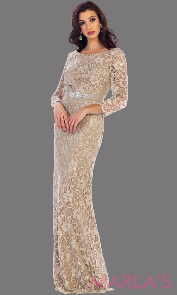 Long sleeve champagne lace dress with detachable belt. This beautiful modest full length gown is a perfect bridesmaid dress, light gold or taupe prom dress, simple bridal dress. Available in plus sizes