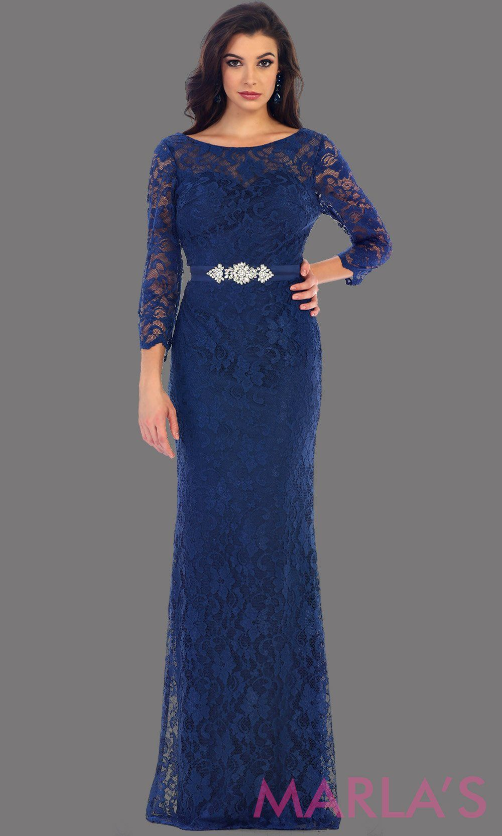 Long sleeve navy lace dress with detachable belt. This beautiful modest full length gown is a perfect bridesmaid dress, dark blue prom dress, simple bridal dress. Available in plus sizes