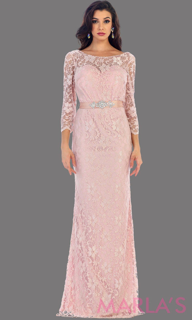 77746faaa90d Long sleeve pink lace dress with detachable belt. This beautiful modest  full length gown is ...