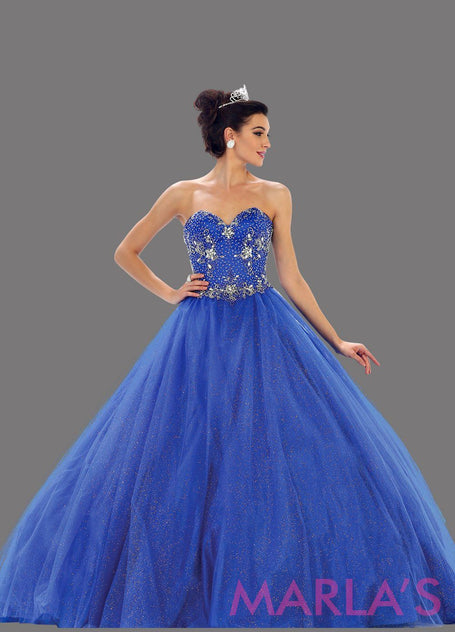Long strapless royal blue Quinceanera ball gown. This is a beautiful beaded top blue ballgown that is perfect for a sweet 16, engagement party, Quinceanera or Sweet 15, Debut, or bah mitzvah. Ballgowns are available in plus sizes