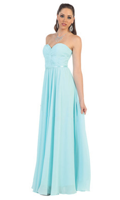 May Queen - MQ1145 Strapless Sweetheart A-Line Dress In Blue and Green