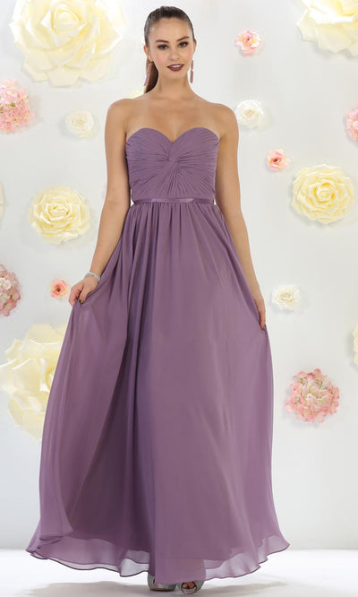 May Queen - MQ1145 Strapless Sweetheart A-Line Dress In Purple