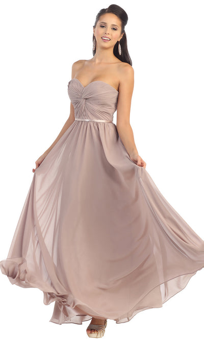 May Queen - MQ1145 Strapless Sweetheart A-Line Dress In Gray and Brown