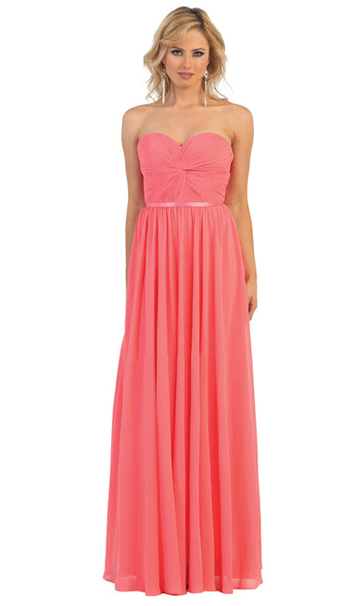 May Queen - MQ1145 Strapless Sweetheart A-Line Dress In Pink