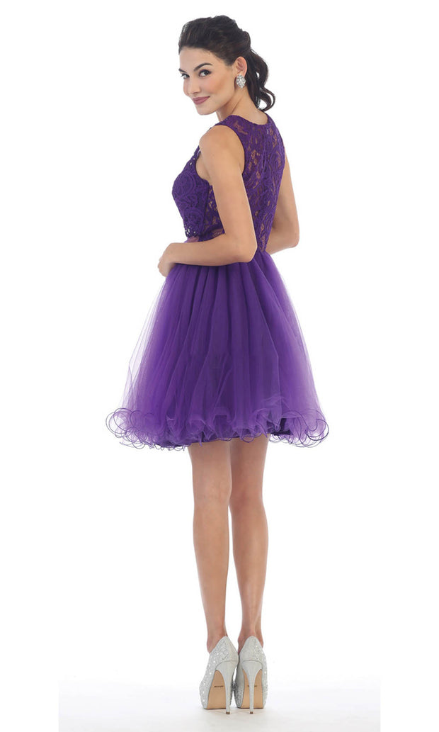 May Queen - MQ1268 Jewel Embroided Cocktail Dress In Purple