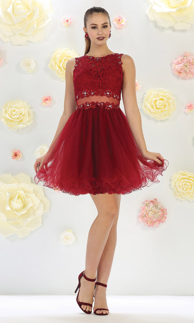 May Queen - MQ1268 Jewel Embroided Cocktail Dress