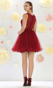 May Queen - MQ1268 Jewel Embroided Cocktail Dress In Red and Black