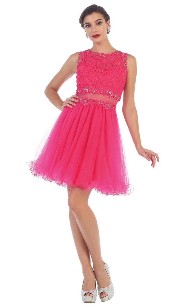 May Queen - MQ1268 Jewel Embroided Cocktail Dress In Pink