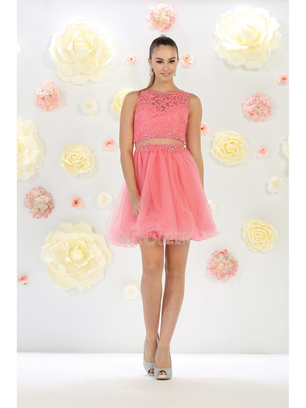 May Queen - MQ1268 Jewel Embroided Cocktail Dress In Pink and White