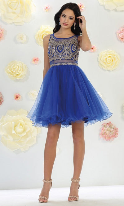 May Queen - MQ1462 Lace Applique Tulle Cocktail Dress In Blue