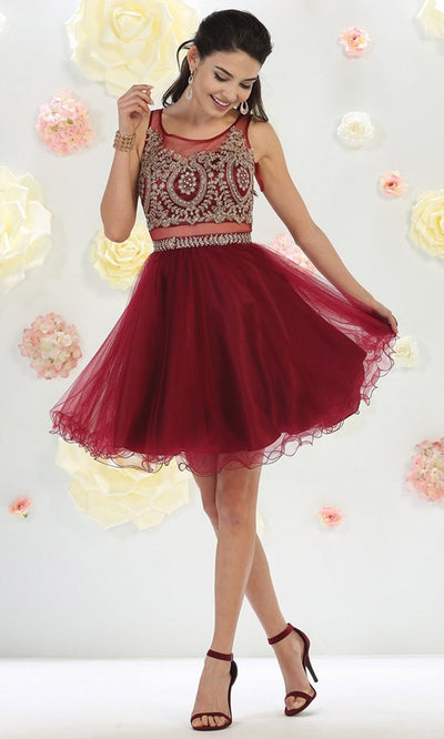 May Queen - MQ1462 Lace Applique Tulle Cocktail Dress In Red and Black