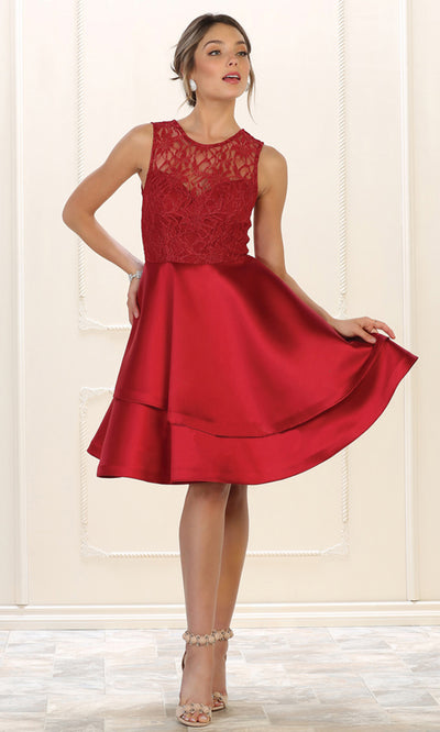 May Queen - MQ1508 Lace Jewel Neck A-Line Dress In Red