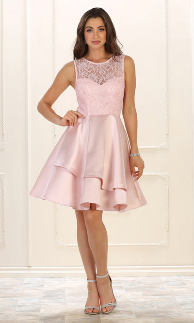 May Queen - MQ1508 Lace Jewel Neck A-Line Dress In Pink