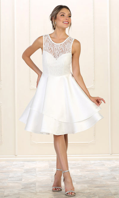 May Queen - MQ1508 Lace Jewel Neck A-Line Dress In White