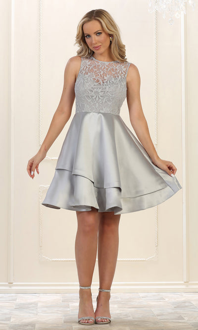 May Queen - MQ1508 Lace Jewel Neck A-Line Dress In Silver