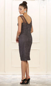 May Queen - MQ1541 Embroidered Short Formal Dress In Gray