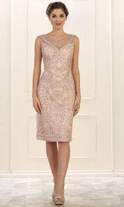 May Queen - MQ1541 Embroidered Short Formal Dress In Champagne