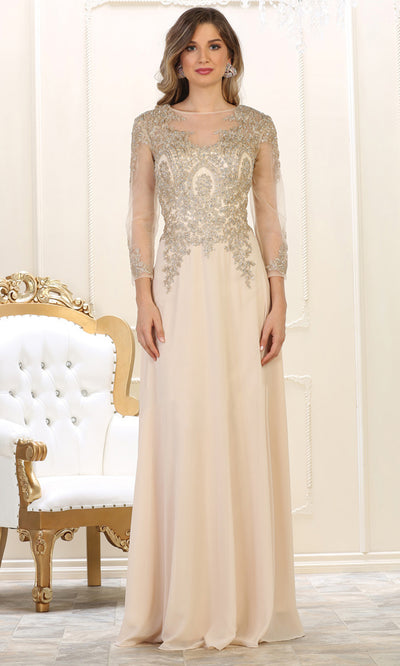 May Queen - MQ1549 Long Sleeve Embellished Gown