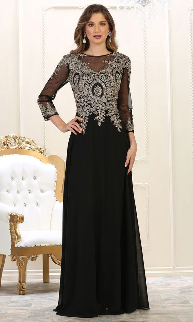 May Queen - MQ1549 Long Sleeve Embellished Gown In Black and Gold