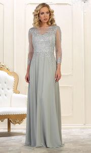 May Queen - MQ1549 Long Sleeve Embellished Gown In Silver