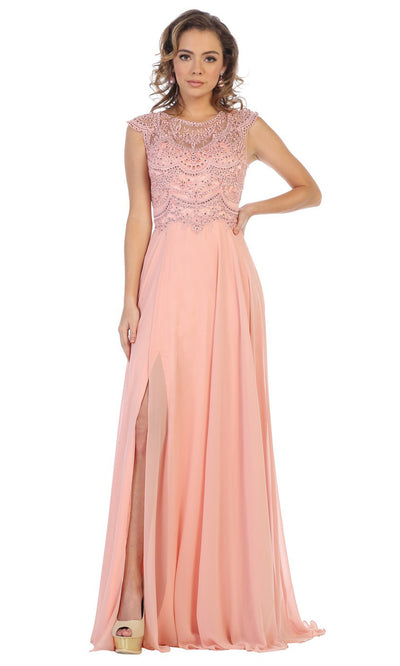May Queen - MQ1563B Embroidered Jewel Flowy Dress In Pink