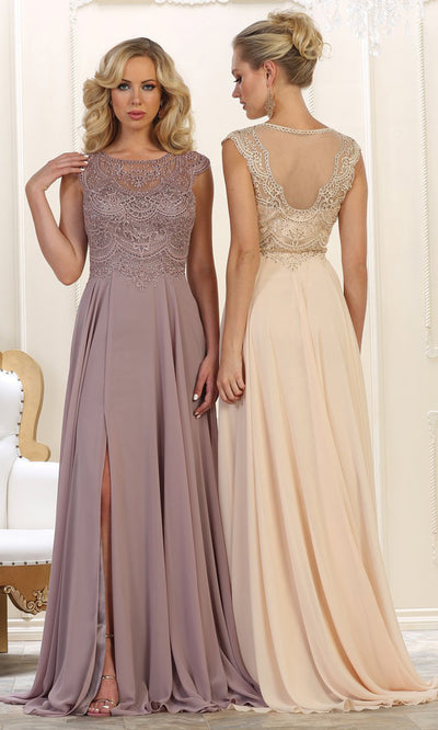 May Queen - MQ1563B Embroidered Jewel Flowy Dress In Neutral and Purple