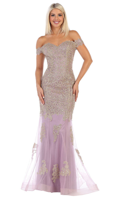 May Queen - MQ1607 Off Shoulder Embroidered Gown In Purple and Gray