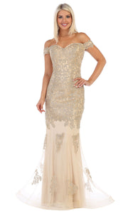 May Queen - MQ1607 Off Shoulder Embroidered Gown In Gold