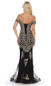May Queen - MQ1607 Off Shoulder Embroidered Gown In Black