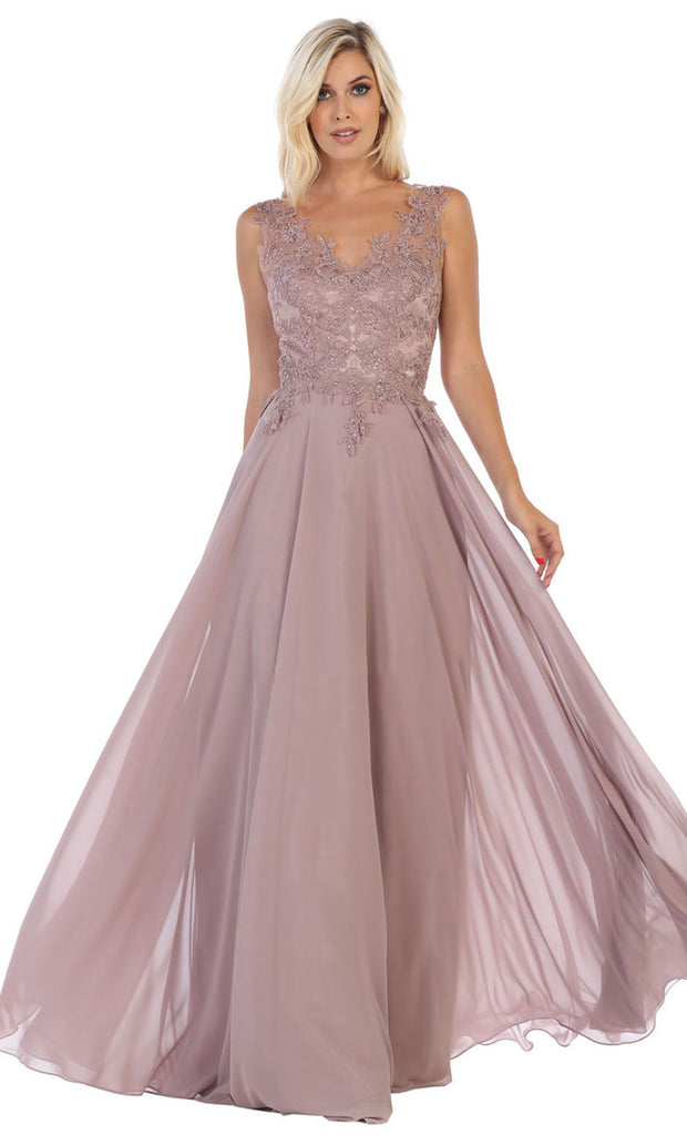 May Queen - MQ1610 Embroidered V Neck A-Line Gown In Pink