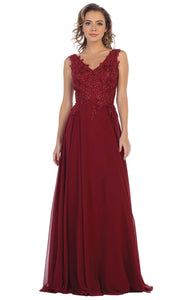 May Queen - MQ1610 Embroidered V Neck A-Line Gown In Red