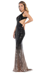May Queen - MQ1628 Open Back Sequined Sheath Gown In Black