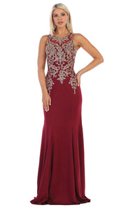 May Queen - MQ1629 Beaded Illusion Jewel Dress In Red