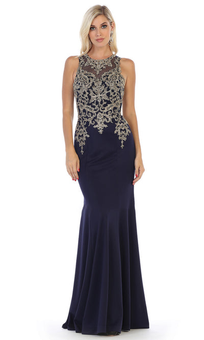 May Queen - MQ1629 Beaded Illusion Jewel Dress In Blue