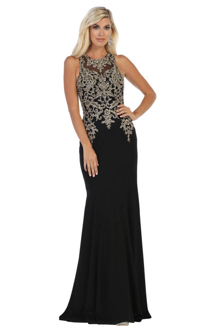 May Queen - MQ1629 Beaded Illusion Jewel Dress In Black