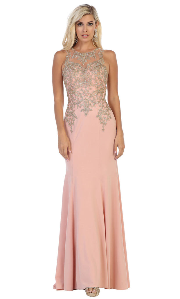 May Queen - MQ1629 Beaded Illusion Jewel Dress In Pink