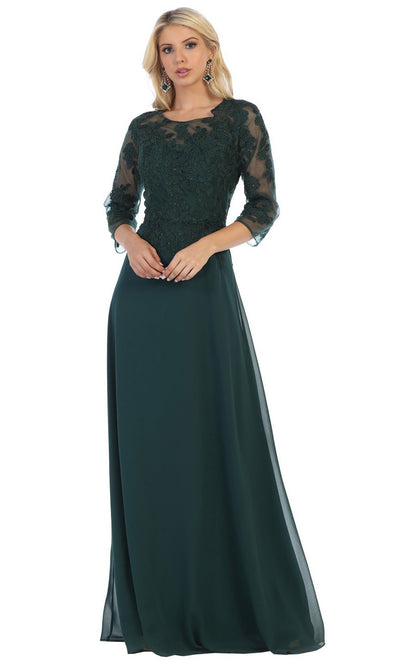 May Queen - MQ1637 Illusion Quarter Sleeve Long Dress In Green